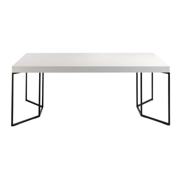 Tousmesmeubles Table de repas Laqué Blanc - Onel