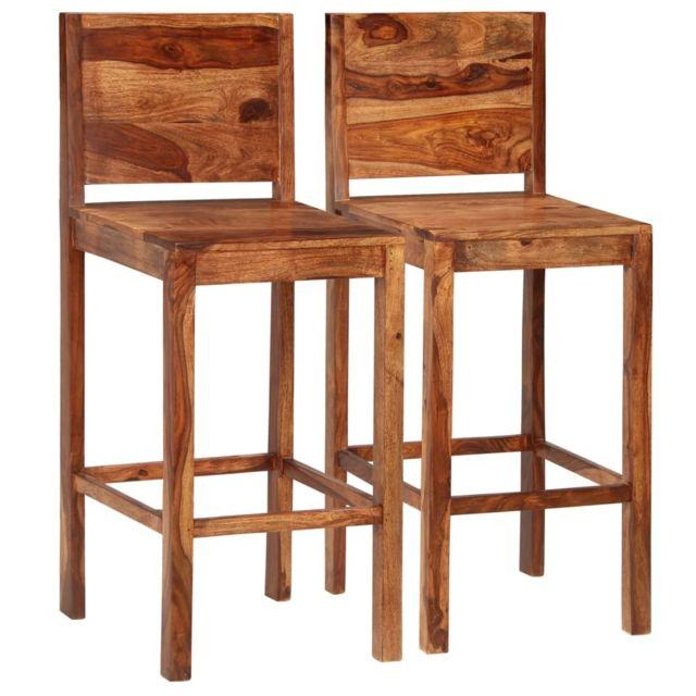 De Bar Pcs 2 Serie Marron Sesham Fauteuils Solide Bois Panama Chaises nPym8vON0w