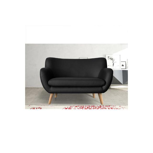 Canapé 2 places en Pu noir, pieds hêtre