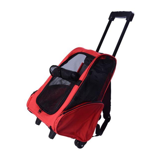 homcom 2 en 1 trolley chariot sac a dos sac de transport a roulettes pour chien chat rouge. Black Bedroom Furniture Sets. Home Design Ideas