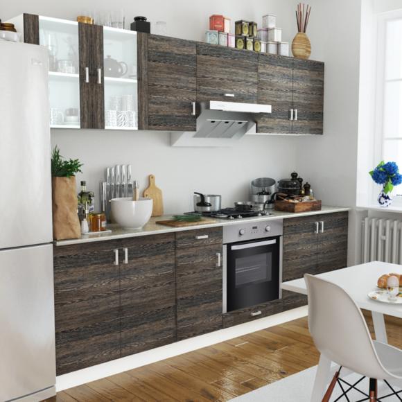 Rocambolesk - Superbe Cuisine complète avec Four intégré 8 fonctions Aspect wenge neuf