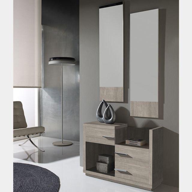 Nouvomeuble Meuble d'entrée contemporain couleur bois clair Matera 4