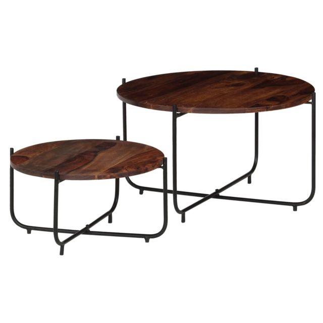 Vidaxl 2x Table Basse Bois de Sesham Massif Table de Salon Console Canapé