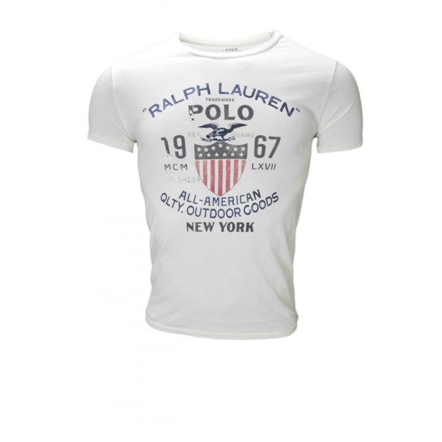 Ralph Lauren - T-shirt col rond Polo blanc pour homme - pas cher Achat   Vente  Polo homme - RueDuCommerce 63b44c422e80
