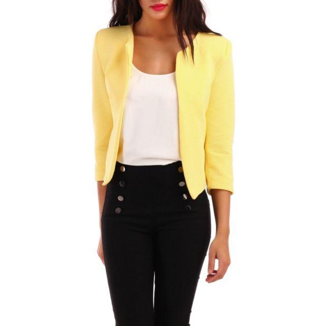Veste courte jaune femme