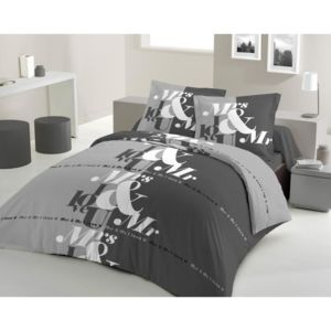lovely home parure de couette mr mrs 100 coton 1 housse de couette 240x260 cm 2 taies d. Black Bedroom Furniture Sets. Home Design Ideas