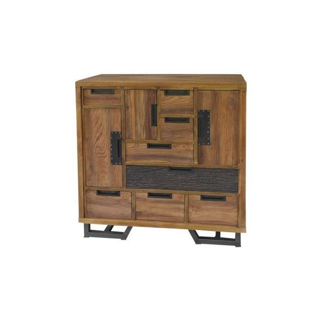 Tousmesmeubles Commode 3 portes, 8 tiroirs - Togo - L 95 x l 45 x H 100