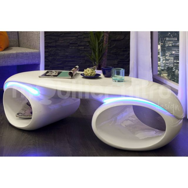 mobilier nitro - table basse design lumineuse milazzi - pas cher