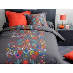 stof parure housse de couette 240x220cm coton taie fleur boh me multicolore moldovanc gris. Black Bedroom Furniture Sets. Home Design Ideas