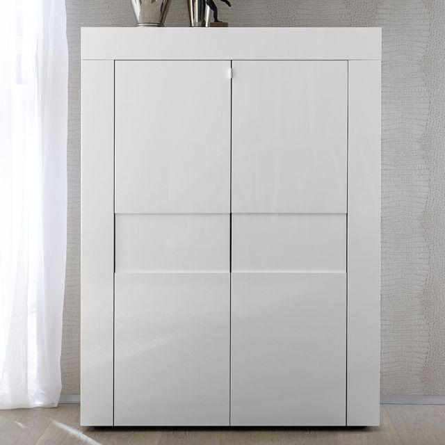 Kasalinea Buffet haut blanc laqué brillant design Newland
