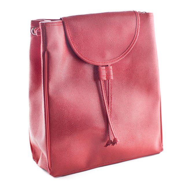 999ddbce62 MAISON FUTEE - Sac à dos simili cuir rouge pour femme - Petit format ...