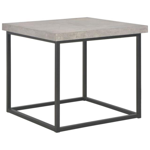 Vidaxl Table Basse 55x55x53 cm Mdf Acier Table d'Appoint Salon Bout de Canapé