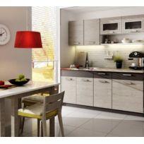 Baltic Meubles - Cuisine Topaze 1m80 / 5 meubles. En 4 coloris: noir chiné/érable/noyer ou chêne cendré