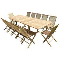 Teck'LINE - Ensemble de jardin en teck premium Kirang 12 chaises Jenae