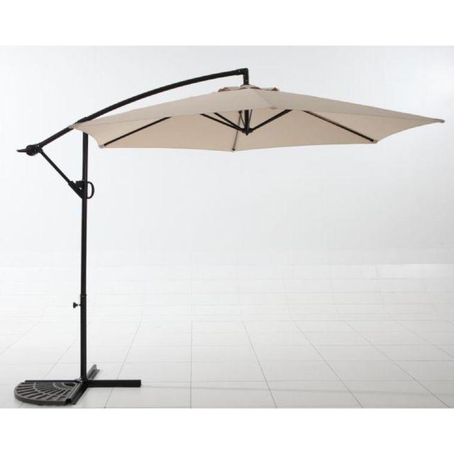 carrefour parasol excentr rotation ronda 300 3 m acier et toile en polyester beige. Black Bedroom Furniture Sets. Home Design Ideas