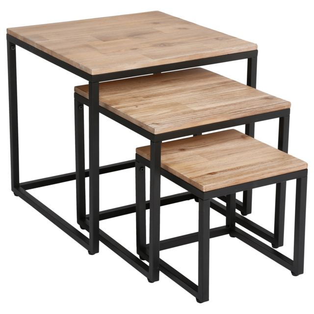 Atmosphera, Createur D'INTERIE 3 Tables basses gigognes Edena - 50 / 40 / 30 cm - Noir et beige