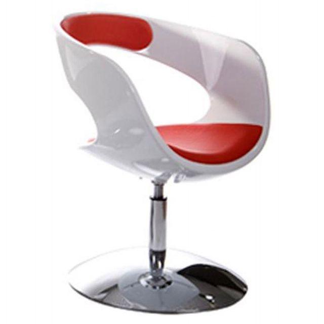 TECHNEB Fauteuil design RHIN en ABS polymère à haute résistance, blanc et rouge