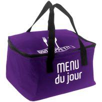 Promobo - Lunch Bag Sac Panier Repas Fraicheur Isotherme Menu Du Jour Prune