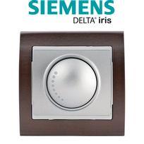 Siemens - Va et Vient Variateur 500W Silver Delta Iris + Plaque Bois Wengé
