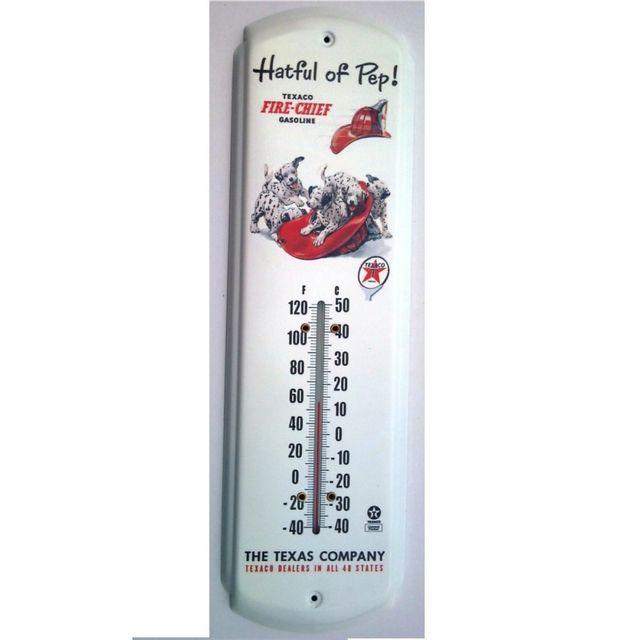 Universel Thermometre texaco chien dalmatien casque pompier tole metal