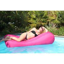 Sit in pool - Pouf de jardin en polyester gonflable déhoussable imperméable 185x80cm Wave