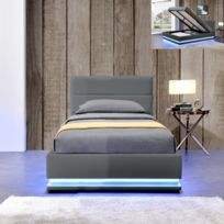 Meubler Design - Lit led avec coffre de rangement Ava - Couleurs - Griss - 90x190