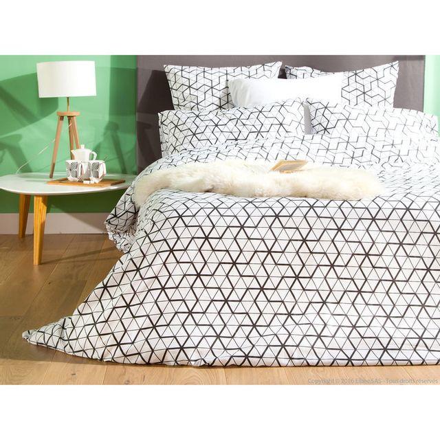 Haveli Republic - Taie d'oreiller 100% satin de coton triangle scandinave noir/blanc Stava - 65X65cmNC 65cm  x 65cm