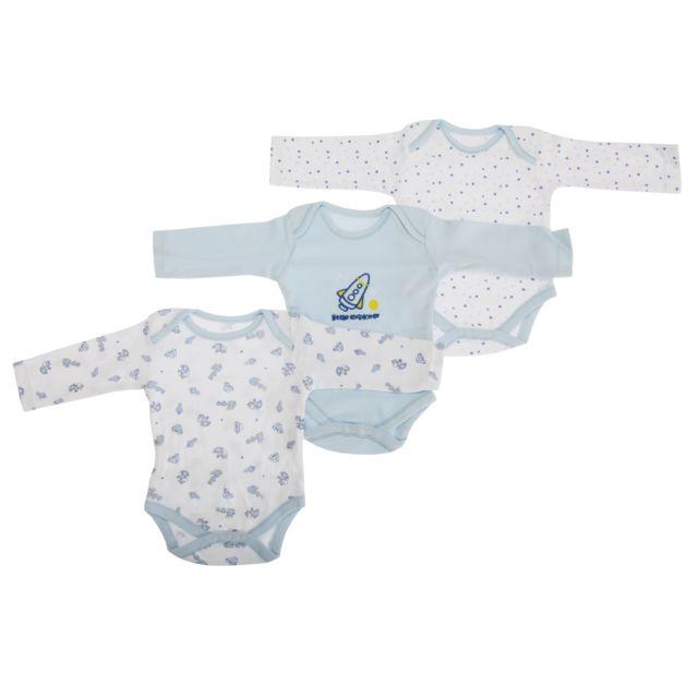 a7e50ca9e92e6 Generic - Bodys à manches longues 100% coton lot de 3 Bébé garçon Nouveau-né