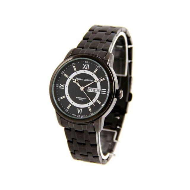 jonas montre homme tendance bracelet acier noir 2584 pas cher achat vente montres homme. Black Bedroom Furniture Sets. Home Design Ideas