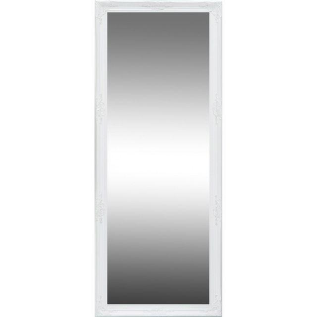 Comforium Miroir Mural Design Baroque Coloris Blanc 90cm X