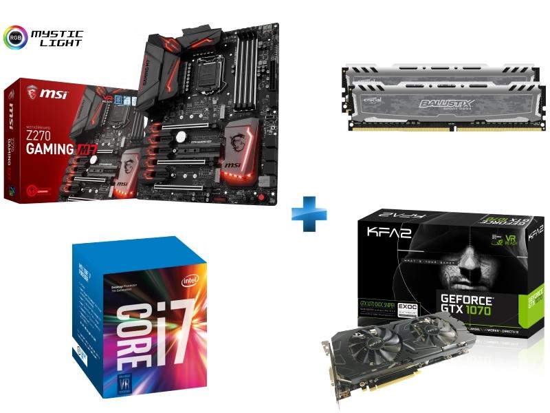 Carte mère Z270 GAMING M7 Socket 1151 - Chipset Z270 Kabylake + Processeur Intel Core i7-7700K 4.20GHz LGA1151 - KABYLAKE + Ballistix Sport LT 16 Go 2 x 8 Go DDR4 - 2400 Mhz - CAS 16 + GeForce GTX 1070 EXOC-SNIPER 8 Go DDR5
