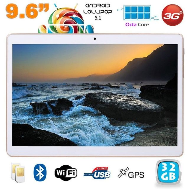 Yonis Tablette 3G 9.6 pouces Android 5.1 Octa Core 2Go Ram 32 Go Blanc
