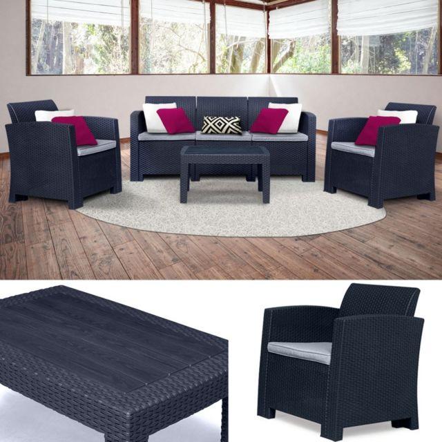 idmarket salon de jardin california 5 places confort. Black Bedroom Furniture Sets. Home Design Ideas
