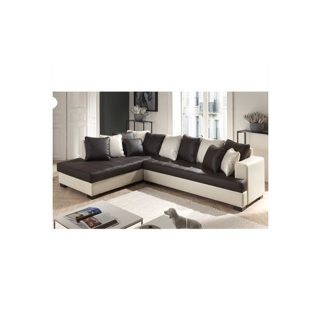 Canapé d'angle à gauche marron et écru Paros