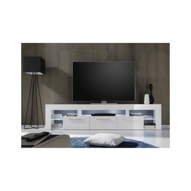 usines discount score meuble tv avec clairage led 200cm blanc brillant pas cher achat. Black Bedroom Furniture Sets. Home Design Ideas