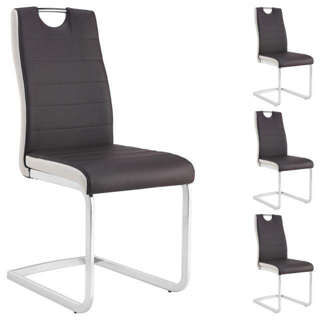 Lot de 4 chaises de salle à manger GEORGE piètement chromé revêtement synthétique brun et blanc