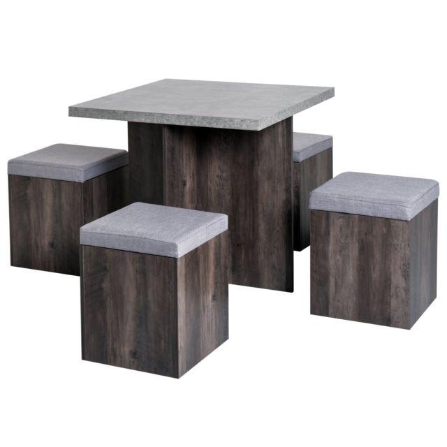 homcom ensemble table manger 4 poufs encastrables avec coffre interne rangement et coussin. Black Bedroom Furniture Sets. Home Design Ideas