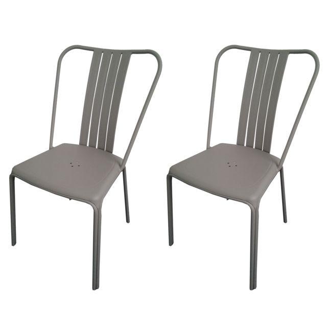 Rendez vous deco chaise de jardin azuro taupe lot de 2 - Chaises couleur taupe ...