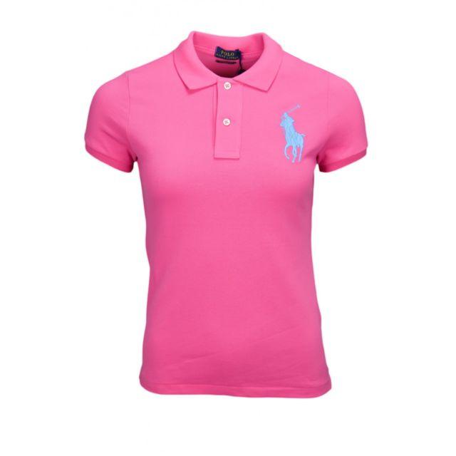 Ralph Lauren - Polo rose Big Poney bleu skinny pour femme - pas cher ... 66047e79e08