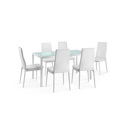 Ensemble repas table plateau verre + 6 chaises laqué blanc