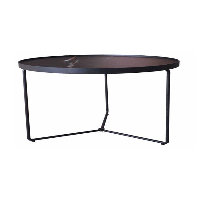 La Maison Du CanapÉ Table basse verre Medium Zebra - Effet marbré - Noir