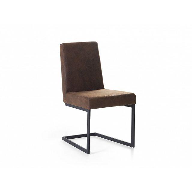 Beliani Chaise de salle a manger - acier et simili-cuir - marron - Arctic