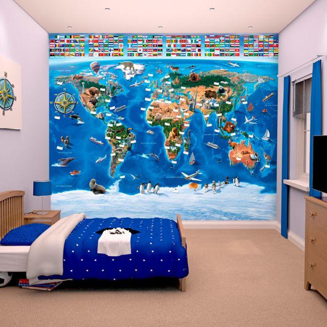 walltastic papier peint enfant carte du monde 305x244 cm pas cher achat vente papier peint. Black Bedroom Furniture Sets. Home Design Ideas