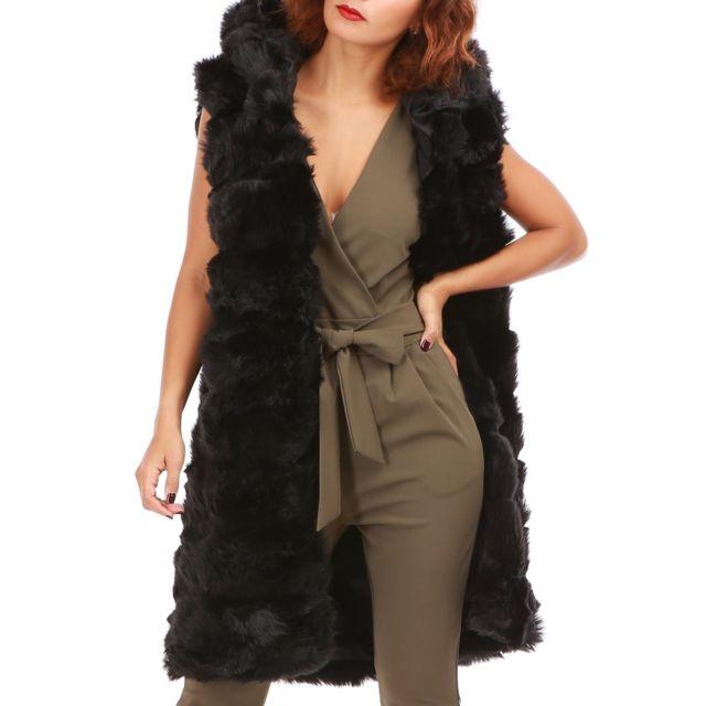 veste longue femme sans manche fausse fourrure