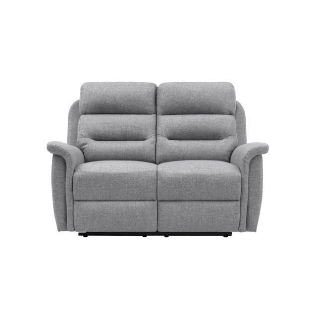 USINESTREET Canapé de Relaxation 2 places en Tissu Gris LÉON - Couleur - Gris clair