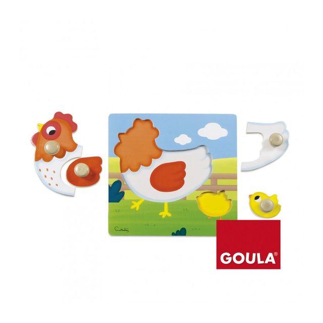 GOULA Puzzle en bois 4 pièces : la Poule et son petit poussin