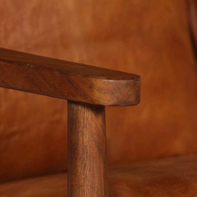 ICAVERNE Canapés collection Canapé à 2 places Cuir véritable avec bois d'acacia Marron