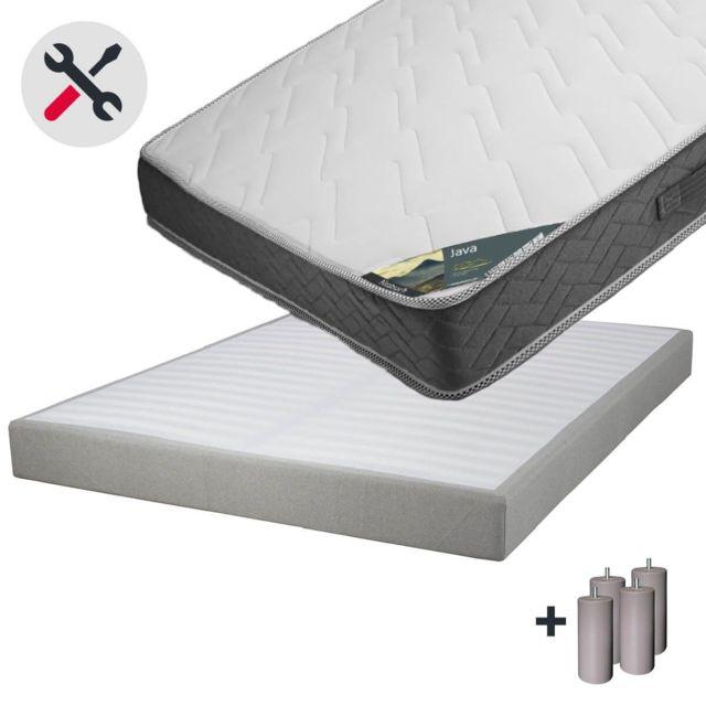 Altobuy Java - Pack Matelas 160x200 + Sommier Tapissier Démontable 2x20 Lattes Lin + Pieds Taupe 15cm