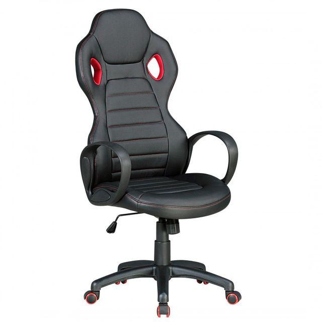 comforium chaise baquet de bureau r glable en hauteur avec accoudoirs coloris gris et rouge. Black Bedroom Furniture Sets. Home Design Ideas