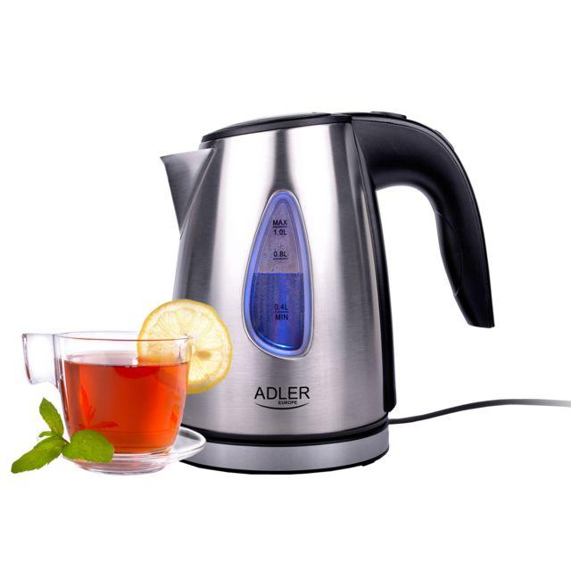 Adler Bouilloire électrique en acier inoxydable, rétro-éclairée 1 litre, base 360° 1600W Ad1203